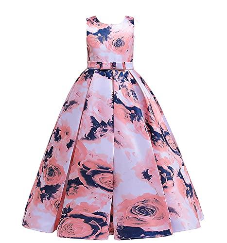 WAWALI Rosa Impreso Flor Niñas Vestidos De Fiesta Princesa Boda Vestidos De Fiesta Vestidos De Fiesta De Las Niñas Vestido Formal Dibu, azul, 4-5 Años
