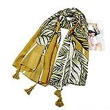Satén de Seda Fular para Las Mujeres Hojas Verdes Verano Cubierta de Playa Abrigo Mantón Ropa de Playa Bufanda de Vacaciones Bufanda de Gran tamaño para Damas (Color : Green, Size : 180 * 100cm)