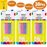 Wanj 30 Pcs Magic Relighting Birthday Candles, Novelty Trick Candles for Birthday Party, Fool's Day, Christmas Celebration