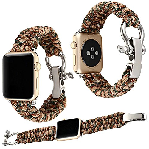 Qianyou Armband Kompatibel mit Apple Watch Series 3/2/1, 42mm Paracord Nylon Sport Erstatzband,Braun