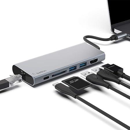 Belkin ハブ ドッキングステーション LAN / USB-C 60W / 4K HDMI 出力 / SDカード / USB-A PD対応 iPad Pro / M1 iPad Pro / M1 iMac / MacBook Pro / Air Surface対応 F4U092BTSGY-A