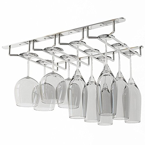 Wallniture Under Cabinet Stemware Glass Storage Rack Chrome Finish 17 Inches