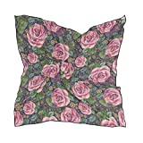 Pañuelo cuadrado City para mujer Señoras Wraps 60 × 60 CM Chal Bufanda Ligero Estampado Arte Patrón Flor Hoja Resumen Rosas