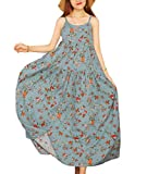 YESNO Women Casual Loose Bohemian Floral Print Dresses Spaghetti Strap Long Maxi Summer Beach Swing Dress XS-5X E75 (L, As Picture14-Gray)