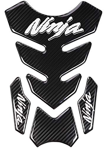 REVSOSTAR 5D Real Carbon Fiber Chrome Decal Sticker Vinyl Decal Emblem Protection Gas Tank Pad for Ninja 250 300 All Series with Keychain