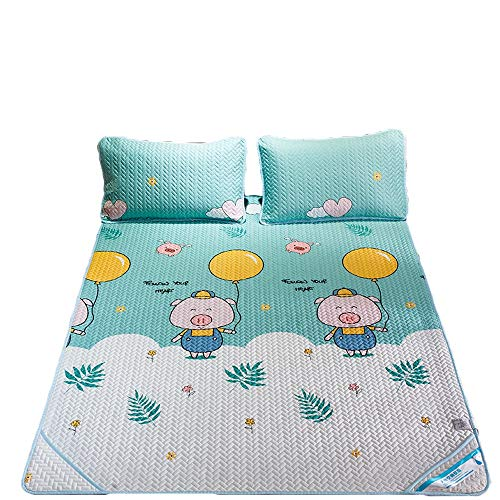 L.Z.HHZL Bedding Cover Set Mattress Cartoon Mat Children Folding Ice Silk Mat Three-Piece Summer 1.8m Bed Sleep Mat Beautiful Photo (Color : 3, Size : 2.0m)