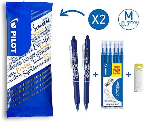 PILOT FriXion Clicker, radierbarer Tintenroller, 2er Set (Blau) + Ersatzminen + FriXion Radierer