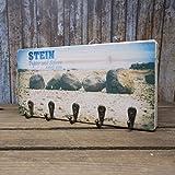 elbPLANKE mit Haken - Stein, Papier und Schere | 12x24 cm | Schlüsselbrett von Fotoart-Hamburg | mit 5 Antike Haken aus Holz (Kiefer/Fichte) - 100% Handmade