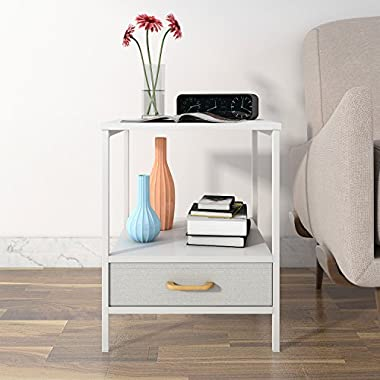 Lifewit 2-tier Side Table End Table, Nightstand with Drawer, Coffee Table for Bedroom Living Room, Modern Collection, Square, White