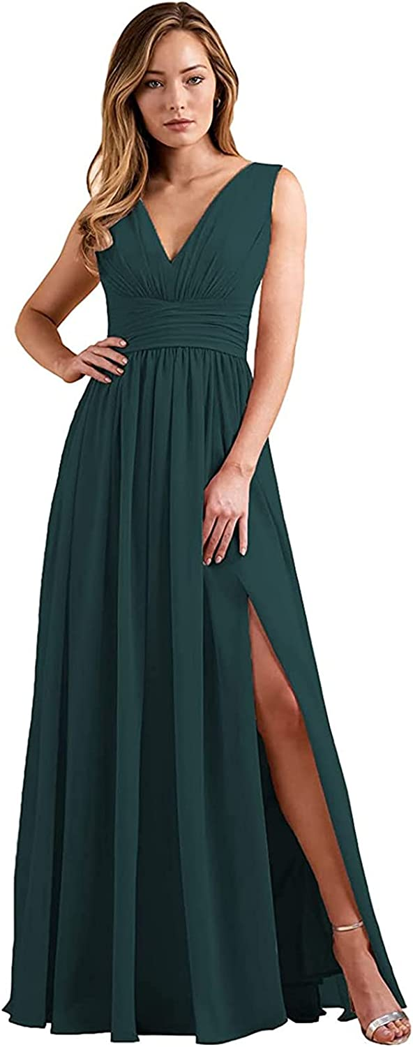 V Neck Split Bridesmaid Dresses Long A Line Formal Prom Dress Chiffon Ruched Ball Gown for Women with Pockets