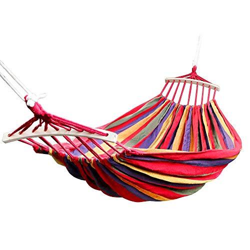 Dubbele hangmat – lichte draagbare hangmat parachuteur voor wandelen, reizen, wandelen, strand, yard-uitrusting. Bevat nylon banden en stalen karabijnhaak