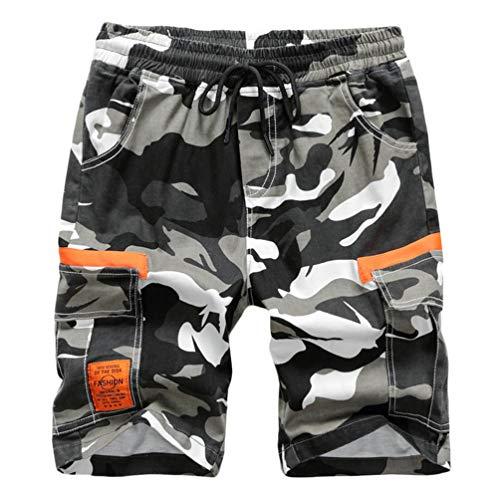 Mingdoo Jungen Camouflage Shorts Cargo Shorts Kinder Sommer Bermuda Kurze Hosen Freizeithose mit Multi-Taschen (Camo, 170)