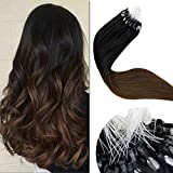 LaaVoo 18inch Micro Loop Hair Extensions Balayage Black to Medium Brown Ombre Micro Ring Human Hair Brazilien Silicone Micro Beads Stick Tip Hair Extensions 50g/50s#1B/6
