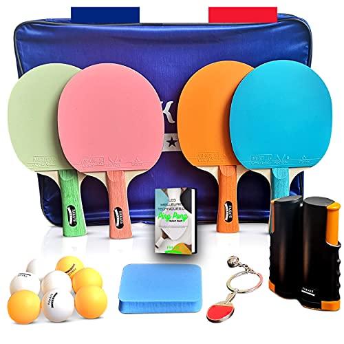 FAKAIS Raqueta/palas de ping pong de color, 4 raquetas de ping pong profesional, 8 pelotas, red de ping pong retráctil/portatil, esponja de limpieza, ideal para juegos en casa/familia o en com