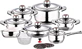 Swiss Inox 18-Piece Stainless Steel Cookware Set, Includes Induction Compatible Fry Pots, Pans, Saucepan, Casserole