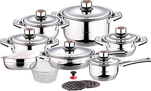 Swiss Inox 18-Piece Stainless Steel Cookware Set, Includes Induction Compatible Fry Pots, Pans, Saucepan, Casserole