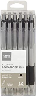 Office Depot Advanced Ink Retractable Ballpoint Pens, Bold Point, 1.2 mm, Silver Barrel, Black Ink, Pack Of 12
