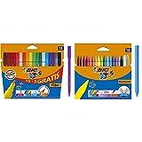 BIC Kids Visa Rotuladores Punta Fina - Surtidos, Blíster de 18 Unidades + Plastidecor - Blíster de 18 unidades, ceras para colorear, surtidos
