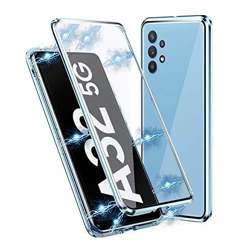 IEMY Funda para Samsung Galaxy A32 5G, Adsorción Magnética Parachoques de Metal con 360 Grados Protección Case Cover Transparente Ambos Lados Vidrio Templado Cubierta (Azul Claro)