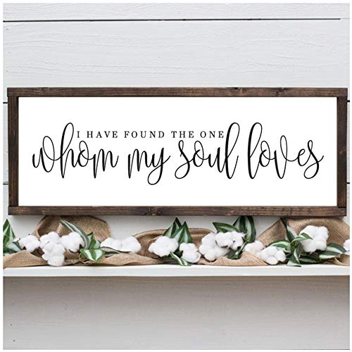 "Sunglade Romance Canvas Paintings I Have Found The one whom My Soul Loves Prints Sign for Above The Bed Wall Decor Wedding Love Art 15.7""x 47.2'(40x120cm) No Frame"