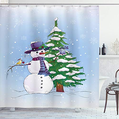 Ambesonne Christmas Decorations Shower Curtain Set – Snowman in Winter with Mistletoe, Hat and Scarf