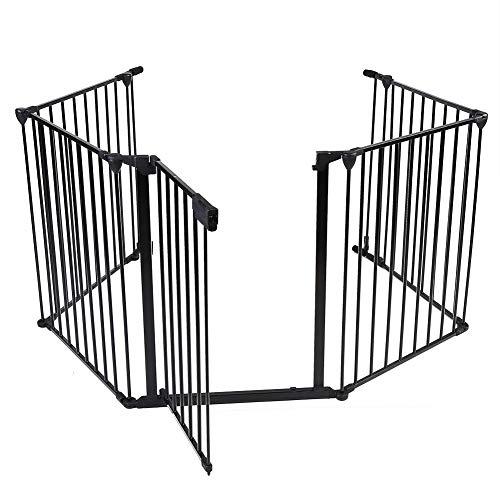 EBTOOLS Rejilla de Protección de Chimenea, Valla de Estufa para Niños Mascotas, Barrera de Seguridad Reja de Protección de Chimenea con 1 Puerta, Negro