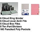 Aktenordner-Set, Wolkenmarmor, 5 Ringordner, 5 Aktenordner, 5 Aktenordner, 5 10 Trennblätter und 100 gestanzte Poly-Taschen