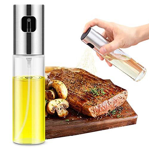 Wellplus Olive Oil Sprayer, Cooking Spray Bottle for Oil, Oil Dispenser Mister Olive Oil Avocado Canola Vinegar Glass Bottle for Cooking, BBQ, Grilling, Salad, Bread Baking, Frying( 3.5oz, 1 Pack)