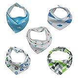 TALINU 5er Baby Dreieckstuch mit Druckknöpfen aus 100% Baumwolle I Latz, Lätzchen, Babylätzchen, Spucktuch, Sabber-Lätzchen