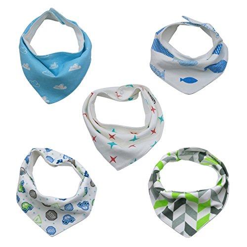TALINU 5-delige baby driehoekig doek met drukknopen van 100% katoen I slabbetjes, babyslabbetjes, spuugdoek, Sabber-slabbetjes