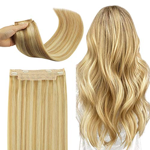 Wennalife Halo Hair Extensions, 16 inch 80g Light Blonde Highlighted Golden Blonde Remy Crown Hair Extensions Invisible Wire Fish Line Hair Extensions Straight 100% Human Filp Hair Extensions