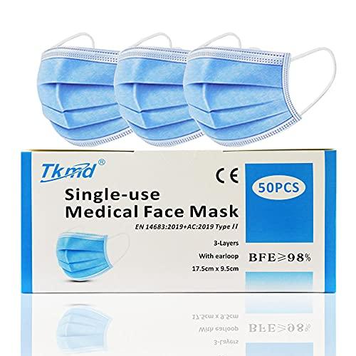 50 St. Medizinische Einweg Schutzmasken OP Masken Gesichtsmasken 3-Lagig TYP II BFE 98% Konformität nach EN 14683 geprüft durch TÜV SÜD