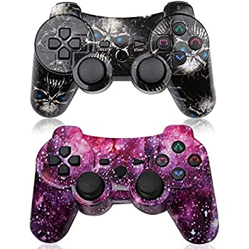 PS3 Controller Wireless 2 Pack High-Precison Dual Shock Gamepad DS3 Gaming Controller for Playstation 3 with Charging Cord