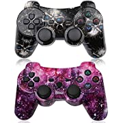 PS3 Controller 2 Pack Wireless 6-axis Dual Shock Gaming Controller for Sony Playstation 3 with Charging Cord (PS3 Controller 2 Pack, Skull & Galaxy)