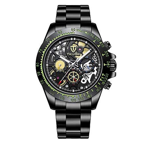 Tevise herrenuhr automatische mechanische Uhr leuchtzeiger große Hohle zifferblatt 3atm wasserdicht voller Stahl Mode sportuhr