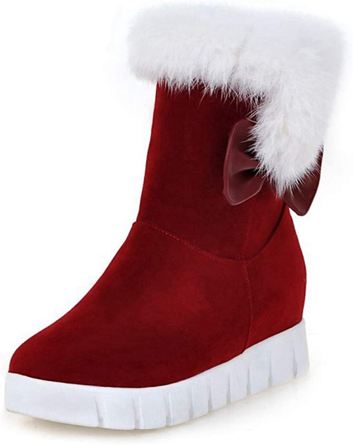 CYBLING Womens Fur Lined Snow Boots Suede Platform Wedges Winter Warm Bowknot Pull On Mid Calf Boots