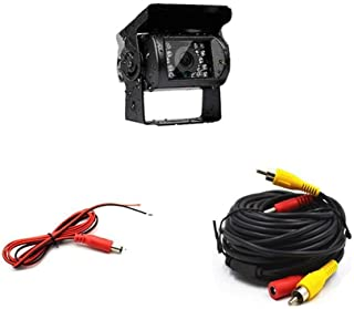 Camecho Truck Backup Camera Heavy Duty 18 LED IR Night Vision Waterproof Vehicle Rear View Camera 12 V 24V Backup Camera Without Guide Line (rear camera + 32.8 ft cable)