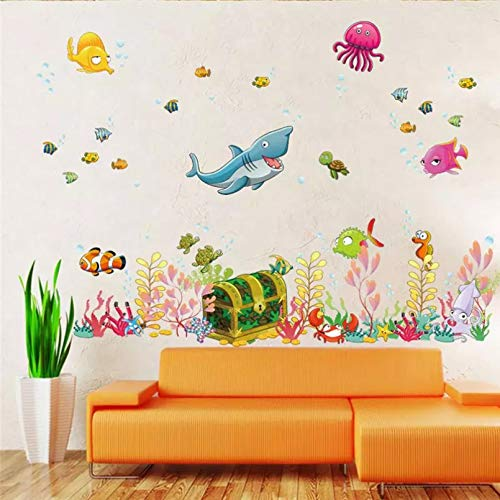 GEYKY Deep Sea World Fish Animals Wall Stickers Room Decorations Cartoon Mural Art Zoo Children Home Decals Poster