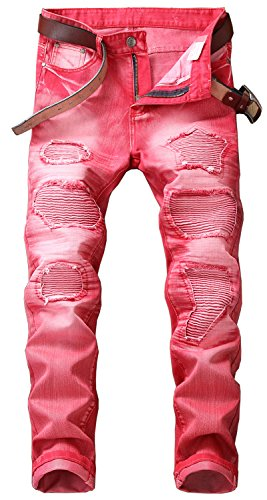 YTD Mens Distressed Ripped Biker Slim Jeans Stretched Moto Denim Pants 34 Red