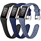 Nofeda Bands Compatible with Fitbit Charge 3/Charge 4/Charge 3 SE,Slim Soft Breathable Replacement Sport Wristband with Air Holes for Women Men,Small, Black/Navy Blue/Blue Gray