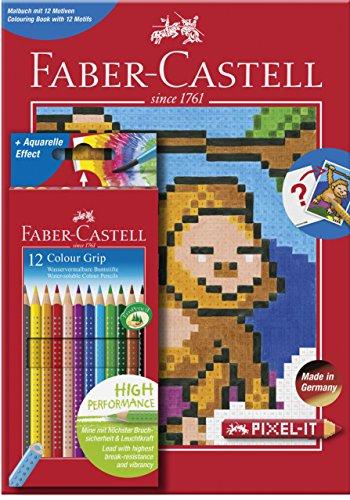 Faber-Castell 201571 Colour Grip 12er Etui und Pixel-it Buch