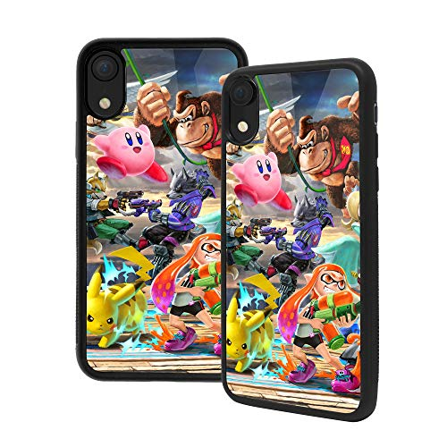 Anime Art Custodia per iPhone 6/6S, in vetro temperato di alta qualità, con struttura in gomma morbida con impugnatura (iPhone 6/6S, Super Smash Bros)