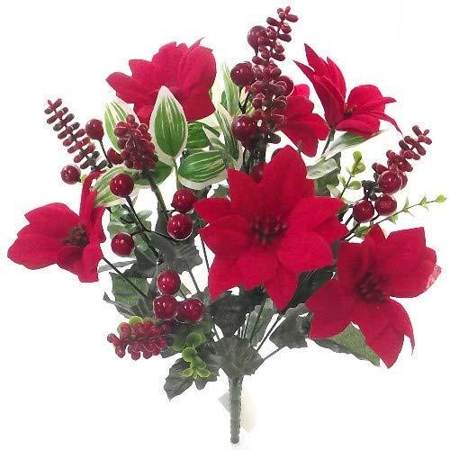 FS Künstlicher roter Weihnachtsstern, Eukalyptus und Beeren, 40 cm