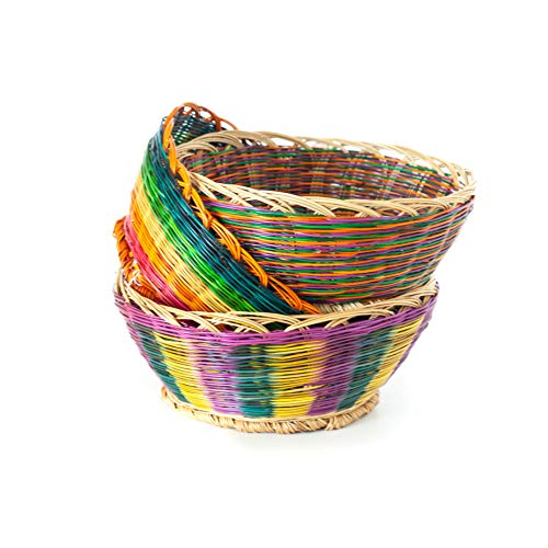 Soulbasket Gift Baskets to Fill - Empty Baskets for Gifts, Woven Storage Baskets, Centerpiece- Set of 3 Easter Baskets - Handmade- Colourful