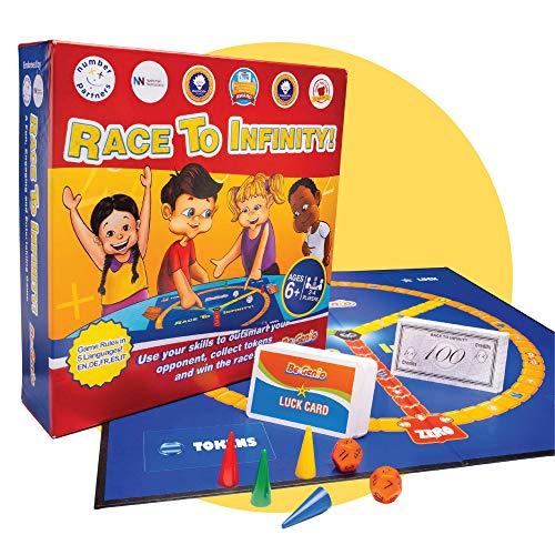Race to Infinity Math Board Game for Kids by BeGenio | Cool Educational Multiplication and Division Strategy Brain Game for Home and School | Math Learning Toys Ages 6+