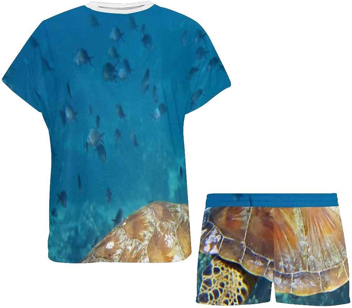 INTERESTPRINT Dolphin and Turtle Underwater Women Sleepwear Short Sleeves Pajama Sets