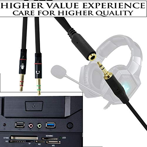 RiaTech Gold Plated 2 male to 1 female 3.5mm Headphone Earphone Mic Audio Y Splitter Cable For PC Laptop (20cm)– Black
