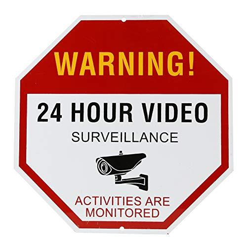 Aluminium reflecterende waarschuwingsbord 24 uur video bewakingswaarschuwing teken anti-diefstal en onttrekkende markering geschikt voor huis supermarkt winkel (30cm x 30cm 2 Pack)