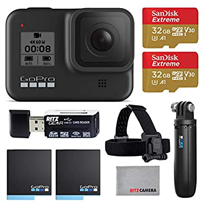 GoPro Hero8 Black Action Camera with GoPro Holiday Accessory Bundle - Two 32gb U3 Memory Cards, Shorty Grip, Head Strap, and 2 Rechargeable Batteries by GoPro