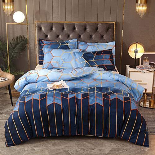 Blckmanba - Juego de funda de edredón de doble tamaño, diseño de geometría, color azul con cierre de cremallera, incluye fundas de almohada, doble, 200 x 200 cm